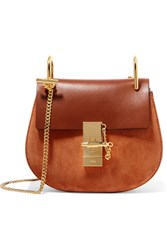 Chloe Drew Mini Leather And Suede Shoulder Bag Brown