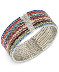 Macy's M. Haskell Silver Tone Multi Colored Crystal Cuff Bracelet