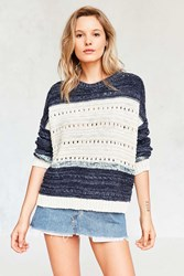 Ecote Mixed Knit Colorblock Pullover Sweater Blue Multi