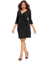 Ny Collection Plus Size Faux Wrap Ruffle Dress Black