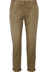 Current Elliott The Buddy Cropped Washed Cotton Twill Tapered Pants