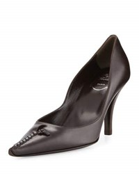 Roger Vivier Leather Woven Pointed Toe Pump Dark Brown