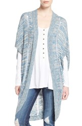 Junior Women's Sun And Shadow Long Cocoon Cardigan Blue Coronet Canyon Marl