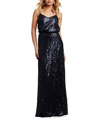 Donna Morgan Sequin Spaghetti Strap Gown Midnight