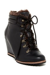 Dr. Scholl's Izetta Faux Fur Lined Wedge Bootie Black