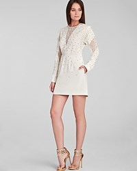 Bcbgmaxazria Dress Lake Rhinestone Applique Cocktail French Cream