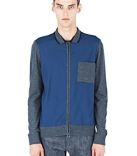 Lanvin Mixed Panel Zipped Jacket Grey