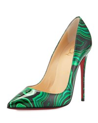Christian Louboutin So Kate Marbled Red Sole Pump Vert Green