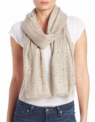 Lord And Taylor Wool Embellished Scarf Taupe
