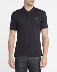 Armani Jeans Navy Zip Neck Chest Logo Slim Fit Polo Shirt Blue