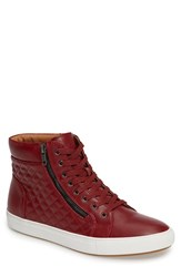Steve Madden Men's Quodis Quilted High Top Sneaker Red Leather