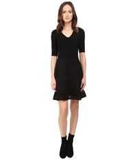 M Missoni Solid Ribstitch V Neck Short Sleeve Dress Black Women's Dress
