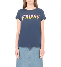 Wildfox Couture Heavy Metal Friday Cotton Jersey T Shirt After Midnight Blue