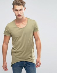Jack And Jones Scoop Neck T Shirt With Side Curved Hem Aloe Green