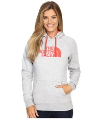 The North Face Half Dome Hoodie Tnf Light Grey Heather Melon Red Women's Sweatshirt Gray