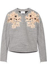 3.1 Phillip Lim Guipure Lace Paneled Cotton Blend Sweatshirt Gray
