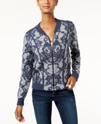 Inc International Concepts Knit Pattern Bomber Cardigan Only At Macy's Deep Twilight