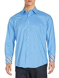 Quieti Dots And Oval Button Front Shirt Blue