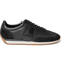 Tom Ford Leather And Suede Sneakers Black