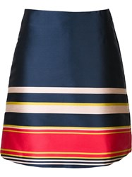 Suno Striped A Line Skirt Blue