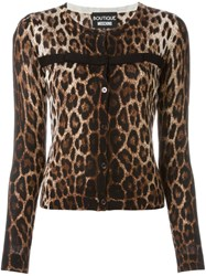 Boutique Moschino Animal Print Cardigan Nude And Neutrals