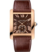 Cartier Tank Mc 18Ct Pink Gold And Leather Watch