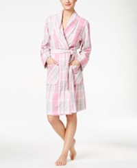 Charter Club Printed Short Robe Only At Macy's Pink Plaid