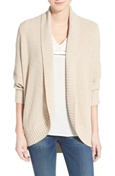 Women's Caslon Open Front Cotton Blend Cardigan Tan Oxford