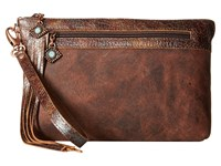Leather Rock Hj05 Black Walnut Clutch Handbags Brown