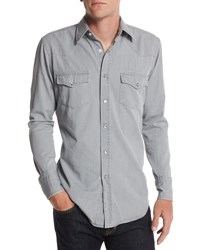 Tom Ford Western Style Denim Shirt Light Gray Light Grey