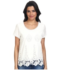 Lamade Donna Cotton Lace Top Natural Women's Short Sleeve Pullover Beige
