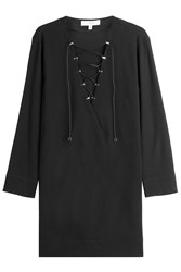 Iro Virgin Wool Dress With Lace Up Front Black