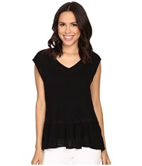 Bobeau Kati Knit To Woven Layer Top Black Women's Short Sleeve Pullover