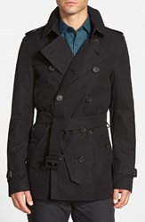 Men's Burberry London 'Sandringham' Short Double Breasted Trench Coat Black