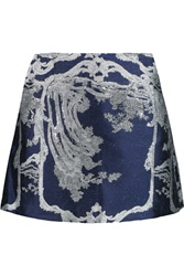 Michael Van Der Ham Elle Metallic Jacquard Mini Skirt Blue