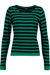 Dolce And Gabbana Striped Cashmere And Cotton Blend Sweater Black