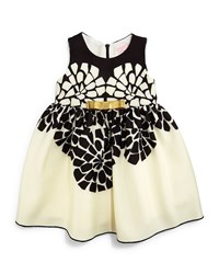 Zoe Sleeveless Geo Floral Party Dress Black Cream Black Ivory