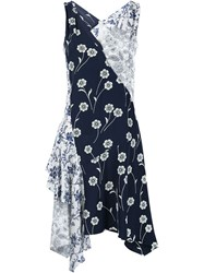 Derek Lam 10 Crosby Patchwork Dress Blue