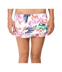 Tommy Bahama Orchid Canopy Shirred Ruffle Skirted Hipster Bottom White Women's Swimwear
