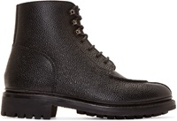 Black Pebbled Leather Grover Boots