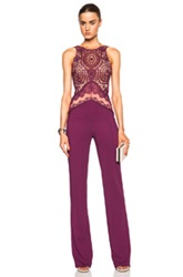 Zuhair Murad Macrame Jumpsuit In Purple Floral