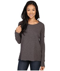 Dylan By True Grit Bonded Soft Slub And Soft Knit Drop Shoulder Seam Tee Charcoal Women's T Shirt Gray