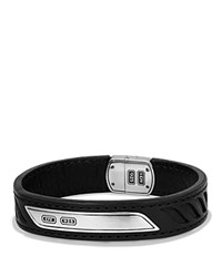 David Yurman Graphic Cable Leather Id Bracelet In Black Black Silver