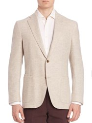 Luciano Barbera Herringbone Wool Blazer Tan