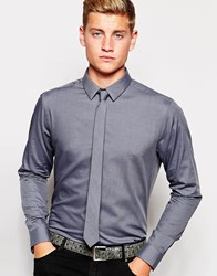 New Look Long Sleeve Grey Shirt And Tie Set In Regular Fit Grey