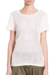 Moncler Perforated Leather And Cotton Tee Natural