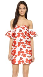 Re Named Red Petals Off Shoulder Dress
