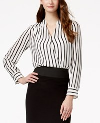Inc International Concepts Long Sleeve Striped Surplice Blouse Only At Macy's