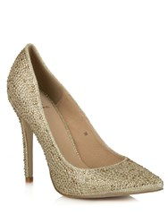 Daniel Dunnington Diamante Pointed Court Shoes Gold Metallic