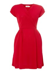 Louche V Front Cap Sleeve Casual Dress Red
